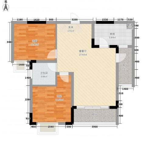 融科海阔天空二期2室1厅1卫1厨99.00㎡户型图