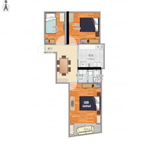 鼓楼五条巷3室2厅1卫1厨69.00㎡户型图