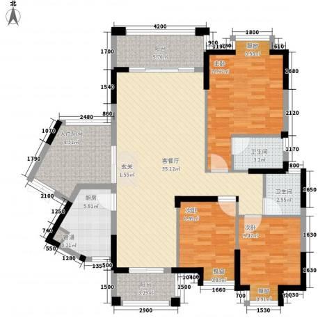 龙光海悦城邦3室1厅2卫1厨119.00㎡户型图