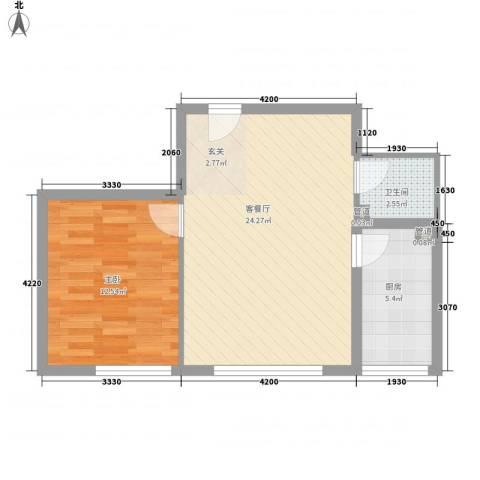 东亚国际城1室1厅1卫1厨63.00㎡户型图