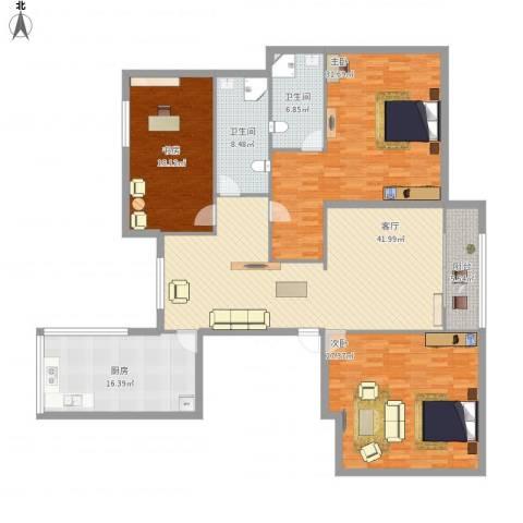 润景花园3室1厅2卫1厨216.00㎡户型图