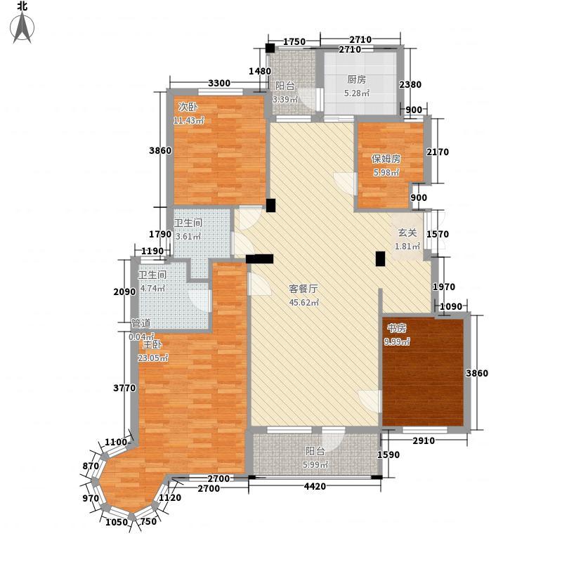 长鹭悦湖15.18㎡41、45号楼A2户型4室2厅2卫1厨