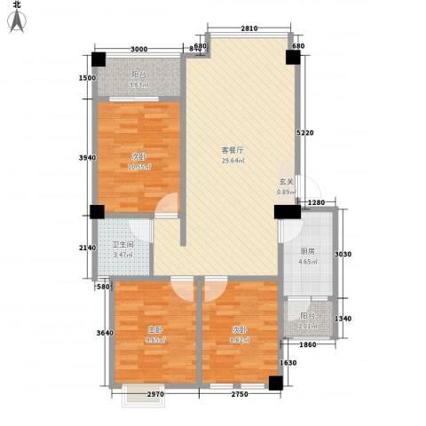 翰城国际3室1厅1卫1厨93.00㎡户型图