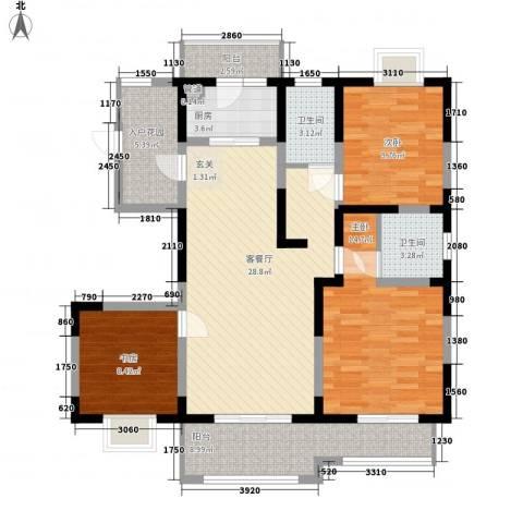 苏尚帝景3室1厅2卫1厨130.00㎡户型图