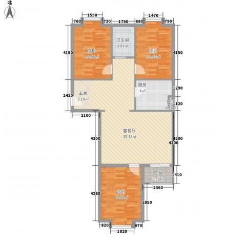 西马庄园3室1厅1卫1厨118.00㎡户型图