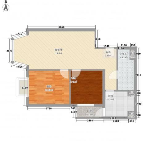 通典铭居2室1厅1卫1厨84.00㎡户型图