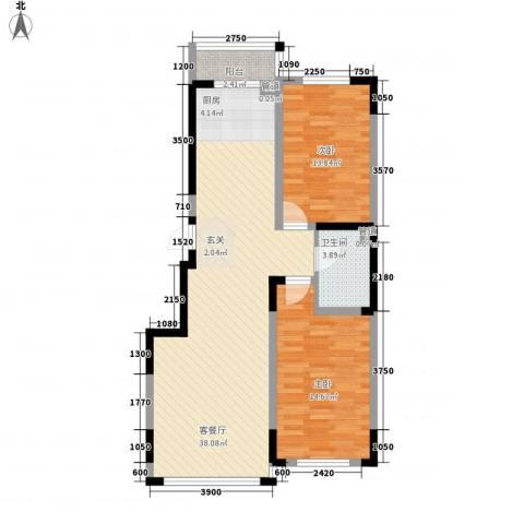 万盛中央一品2室1厅1卫0厨73.01㎡户型图