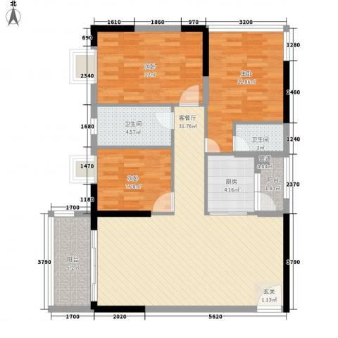 丰湖村3室1厅2卫1厨147.00㎡户型图