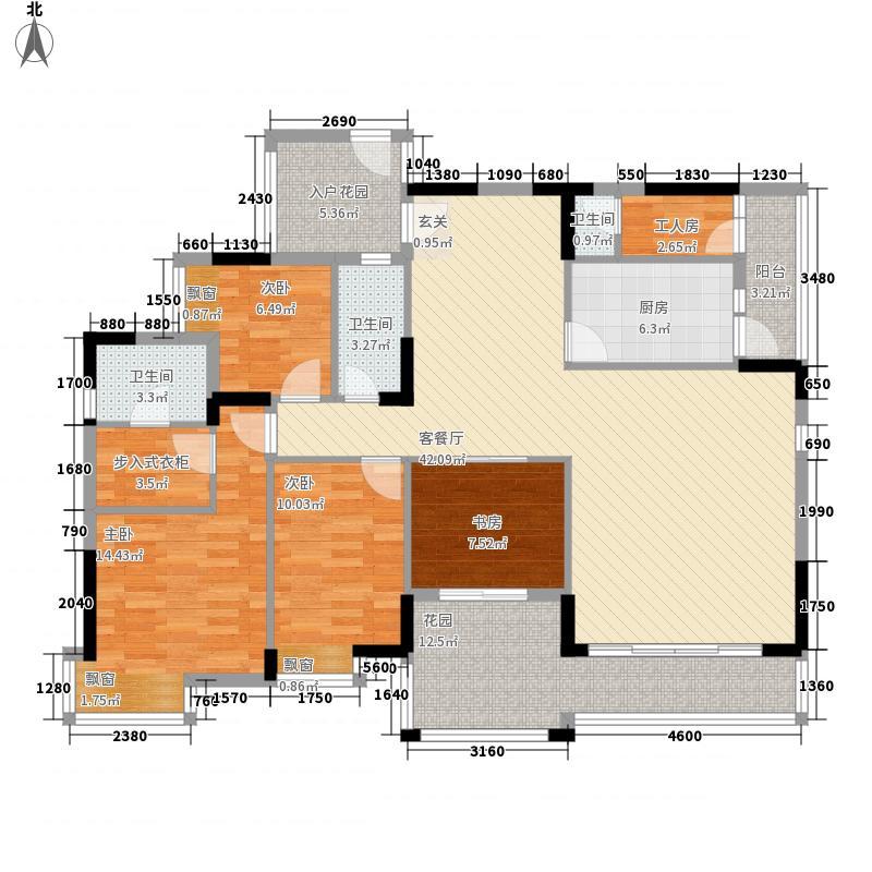 长裕棕榈园173.37㎡裕豪苑6栋7栋3单元标准层户型5室2厅2卫1厨