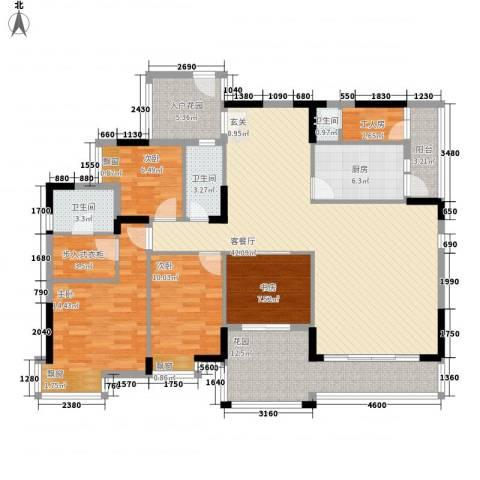长裕棕榈园4室1厅3卫1厨173.00㎡户型图