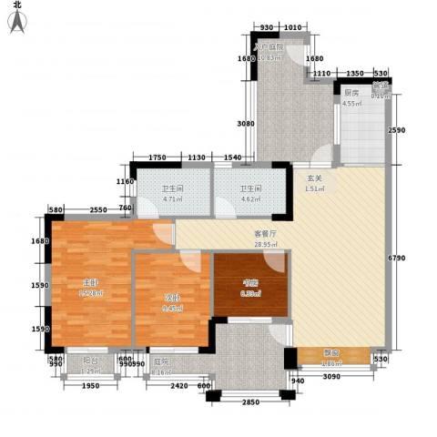 长裕棕榈园3室1厅2卫1厨135.00㎡户型图