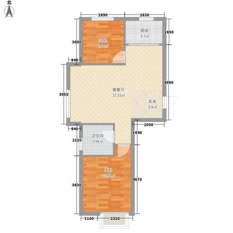 泰荣湾2室1厅1卫1厨77.00㎡户型图