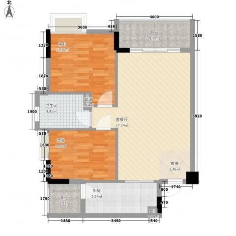翠华花园二期2室1厅1卫1厨74.06㎡户型图