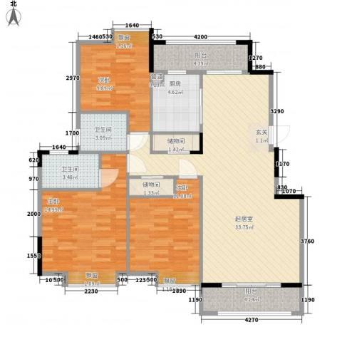 五洲幸福湾3室0厅2卫1厨129.00㎡户型图