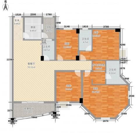 水口雅乐苑4室1厅3卫1厨177.00㎡户型图