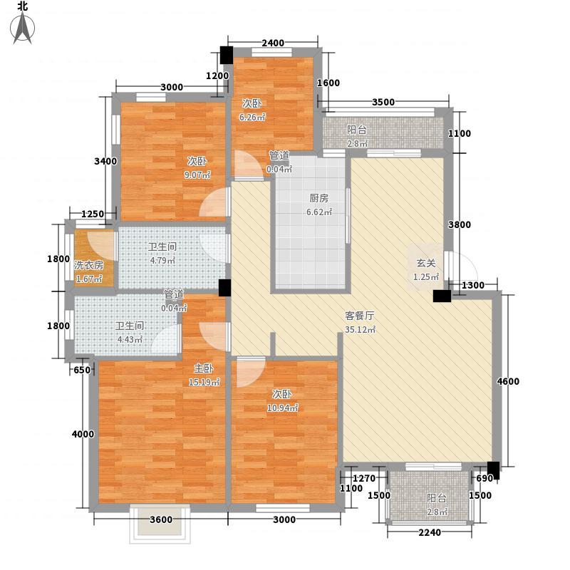 尚南小筑户型4室2厅1卫1厨