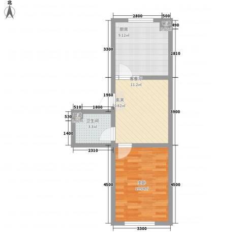 瘦西湖西苑1室1厅1卫1厨54.00㎡户型图