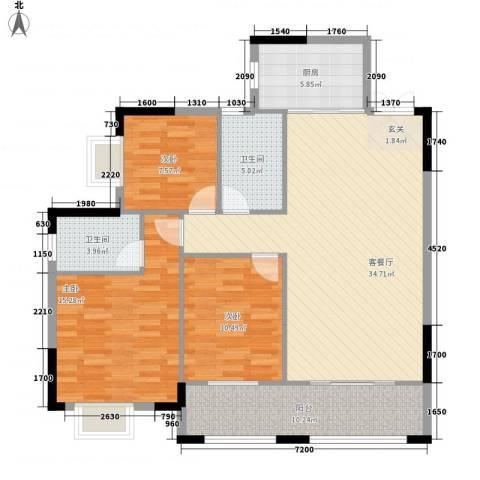 袭汇金色维也纳3室1厅2卫1厨116.00㎡户型图