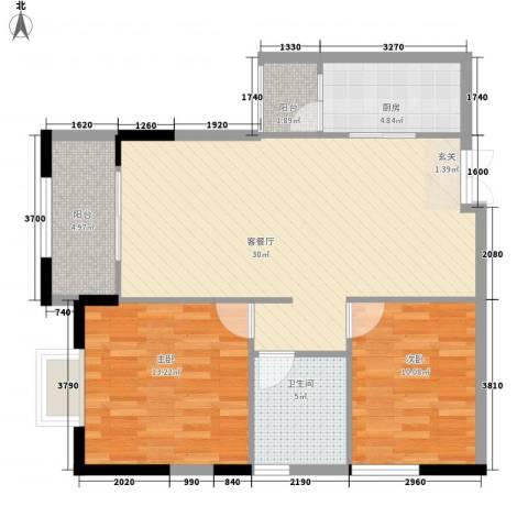 袭汇金色维也纳2室1厅1卫1厨88.00㎡户型图