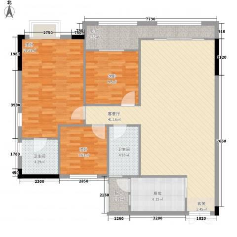 袭汇金色维也纳3室1厅2卫1厨128.00㎡户型图
