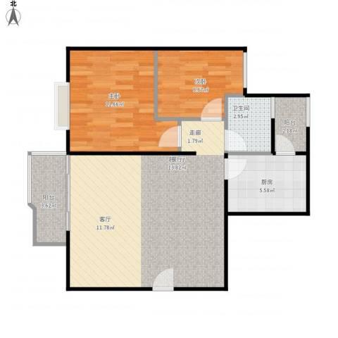 创世纪滨海花园2室1厅1卫1厨81.00㎡户型图