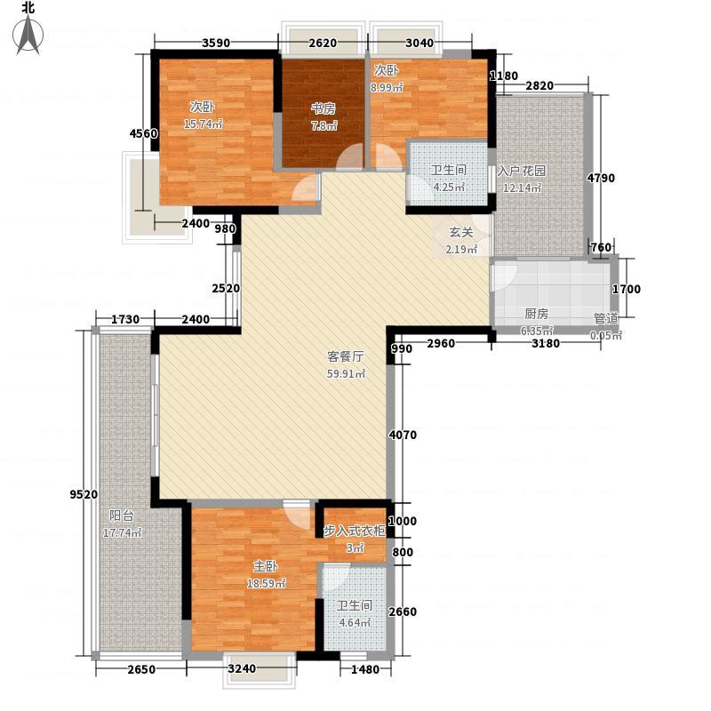 东岸御花园187.80㎡御嵘阁02偶数层户型4室2厅2卫1厨