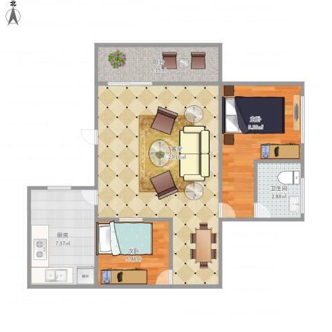 盛世江南7133442室1厅1卫1厨72.00㎡户型图