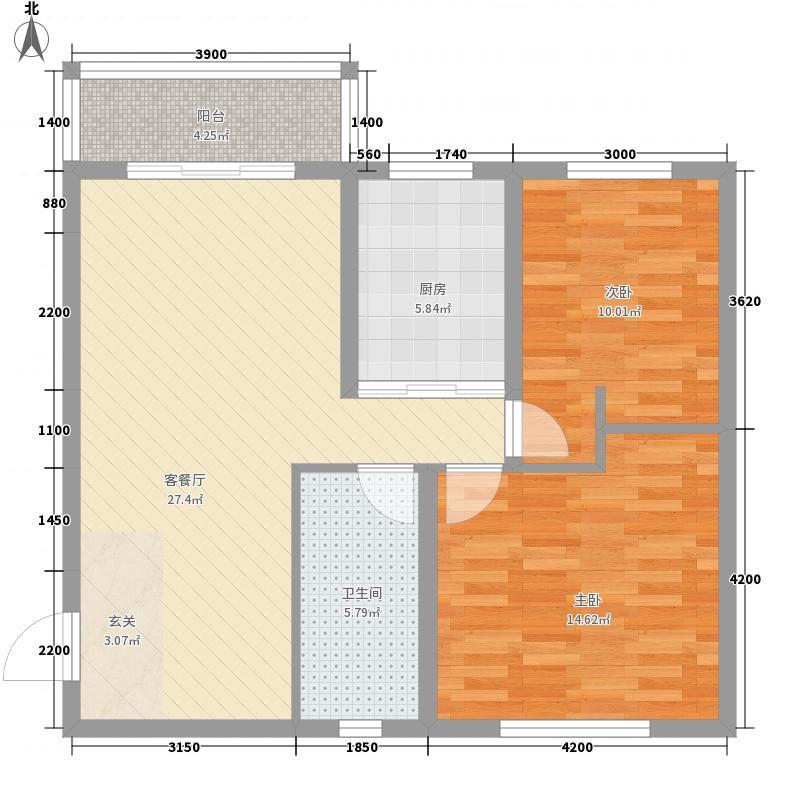 蒙苑国际广场3户型2室2厅1卫1厨