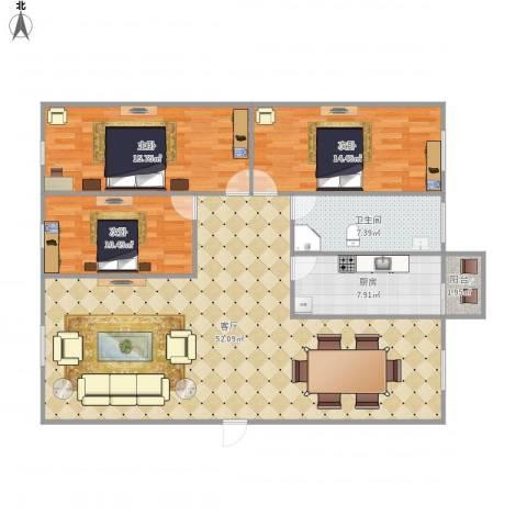 西苑小区7148923室1厅1卫1厨146.00㎡户型图