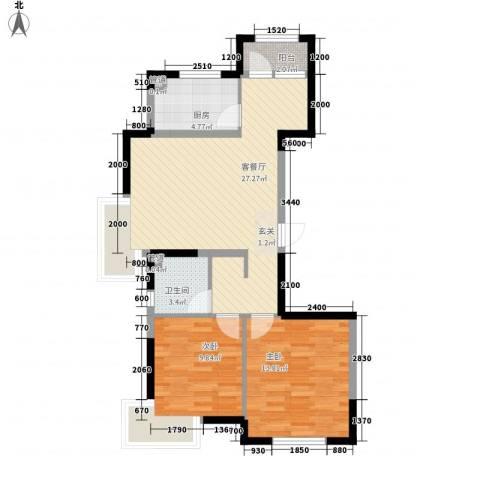 金地国际花园2室1厅1卫1厨88.00㎡户型图