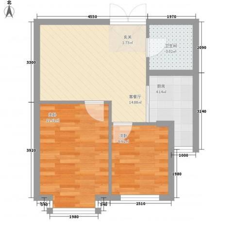 岸上公馆2室1厅1卫1厨58.00㎡户型图