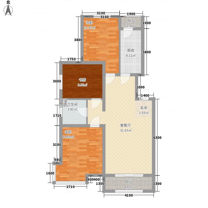 金地国际花园12.00㎡A1户型3室2厅1卫