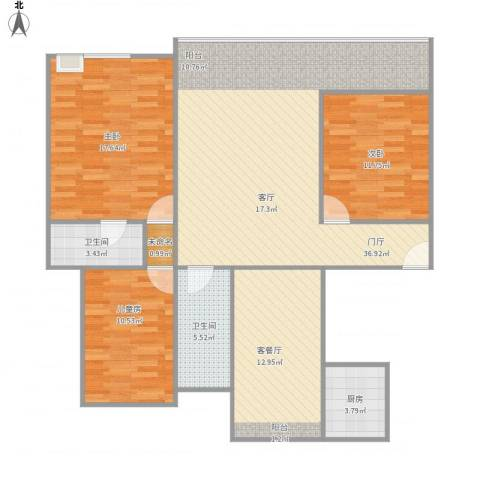 绿地悦城3室1厅2卫1厨139.00㎡户型图