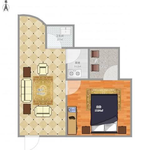 美景大厦7141241室1厅1卫1厨55.44㎡户型图