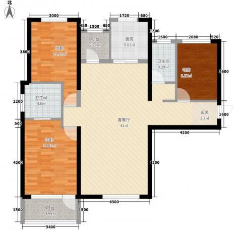 红星海青屿蓝3室1厅2卫1厨133.00㎡户型图