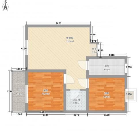 蔺高佳苑2室1厅1卫1厨87.00㎡户型图