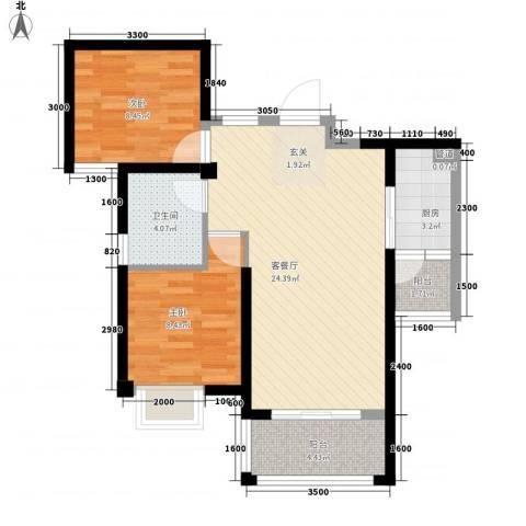 东渡邮局宿舍2室1厅1卫1厨80.00㎡户型图