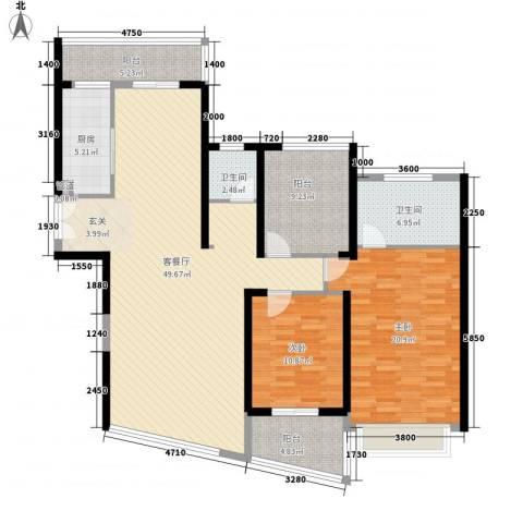 金源大厦2室1厅2卫1厨163.00㎡户型图