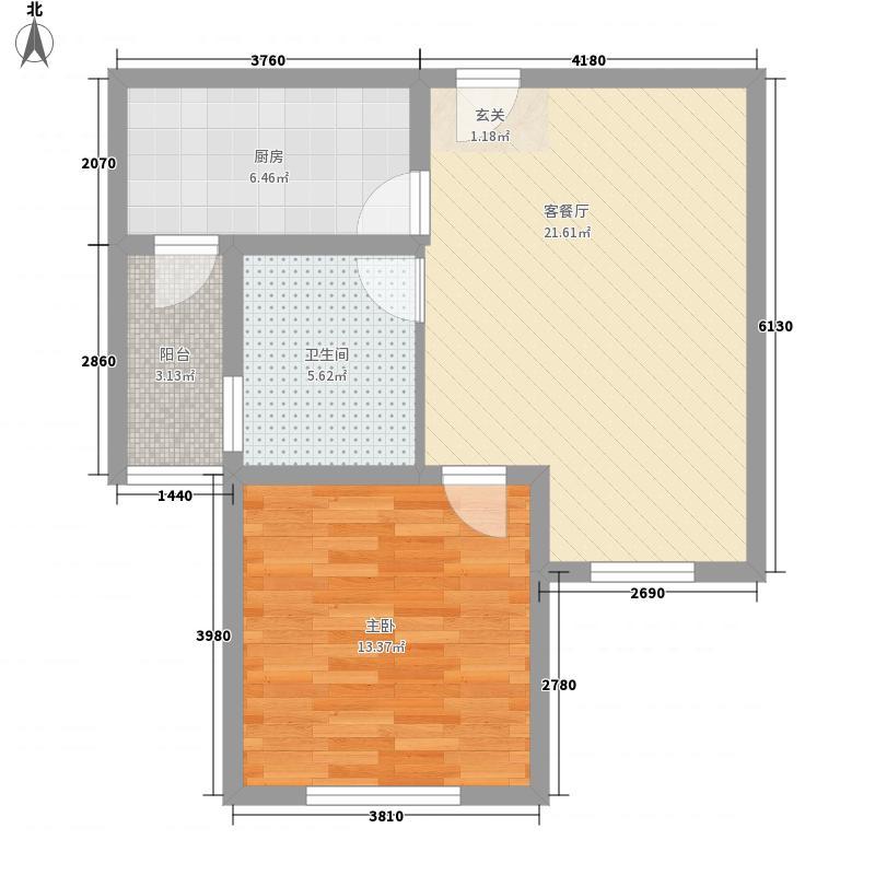 佛光山水花园B区72.17㎡D2户型2室2厅1卫1厨
