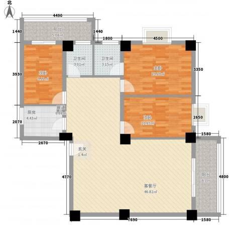 海上明珠家园3室1厅2卫1厨145.00㎡户型图
