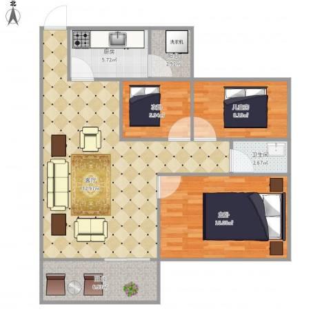 弘雅花园五期雅景居3室1厅1卫1厨110.00㎡户型图