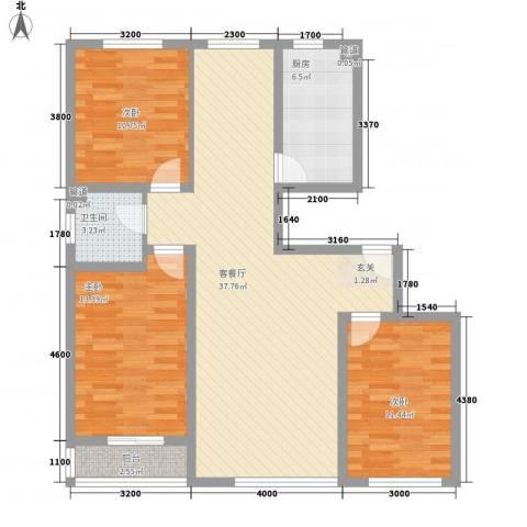 东八里洼单位宿舍3室1厅1卫1厨85.69㎡户型图