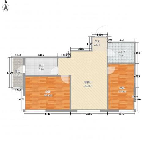 运华广场(江北)2室1厅1卫1厨94.00㎡户型图
