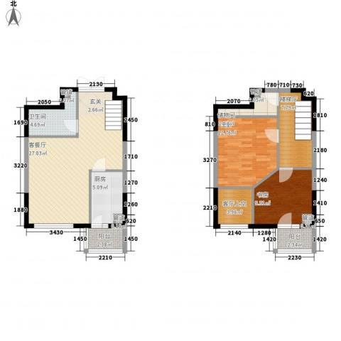 香堤湾2室1厅1卫1厨78.34㎡户型图