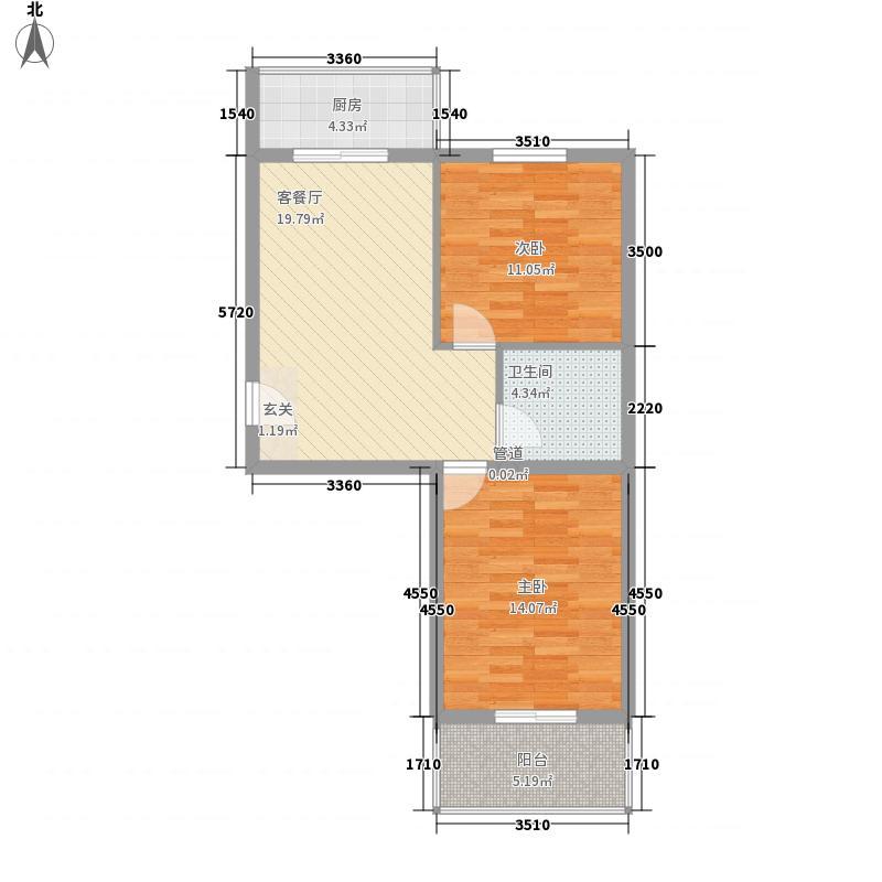 龙泉花园83.28㎡涧河花园8328户型2室1厅1卫