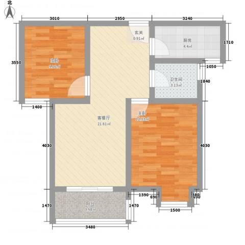 博隆金水湾家园2室1厅1卫1厨80.00㎡户型图
