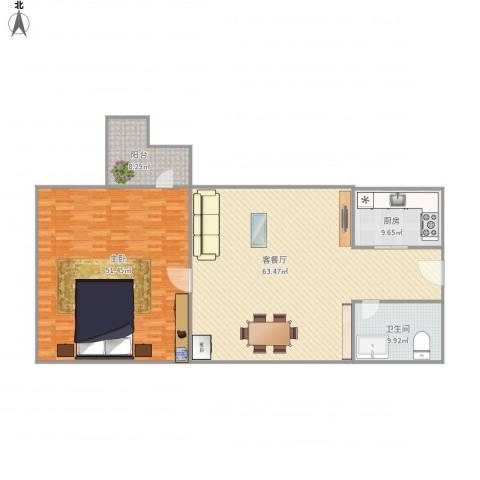鸿泰八零-2-10091室1厅1卫1厨186.00㎡户型图