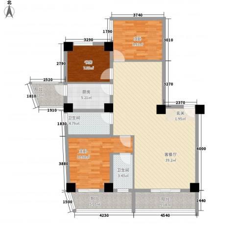 海上明珠家园3室1厅2卫1厨127.00㎡户型图