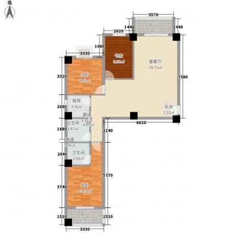 海上明珠家园3室1厅2卫1厨125.00㎡户型图