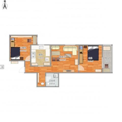 左安浦园2室1厅1卫1厨79.00㎡户型图